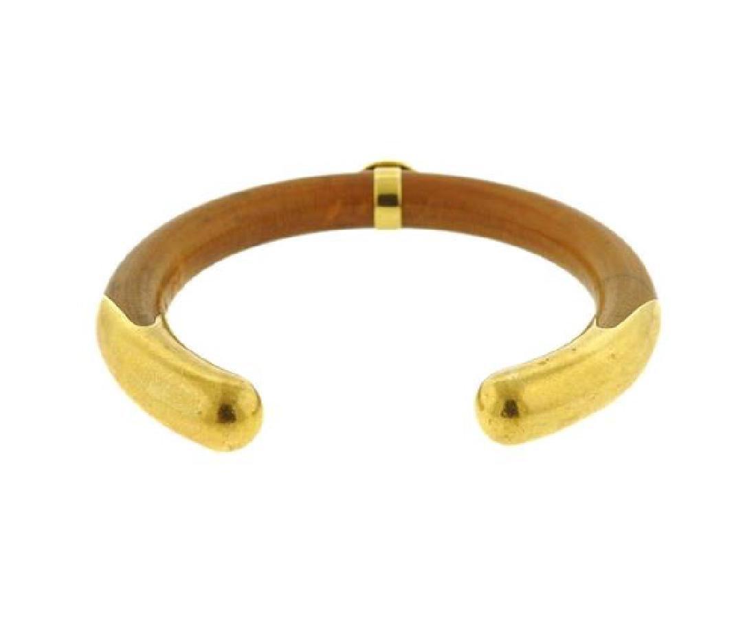 Tiffany & Co Elsa Peretti 18K Gold Wood Cuff - 3
