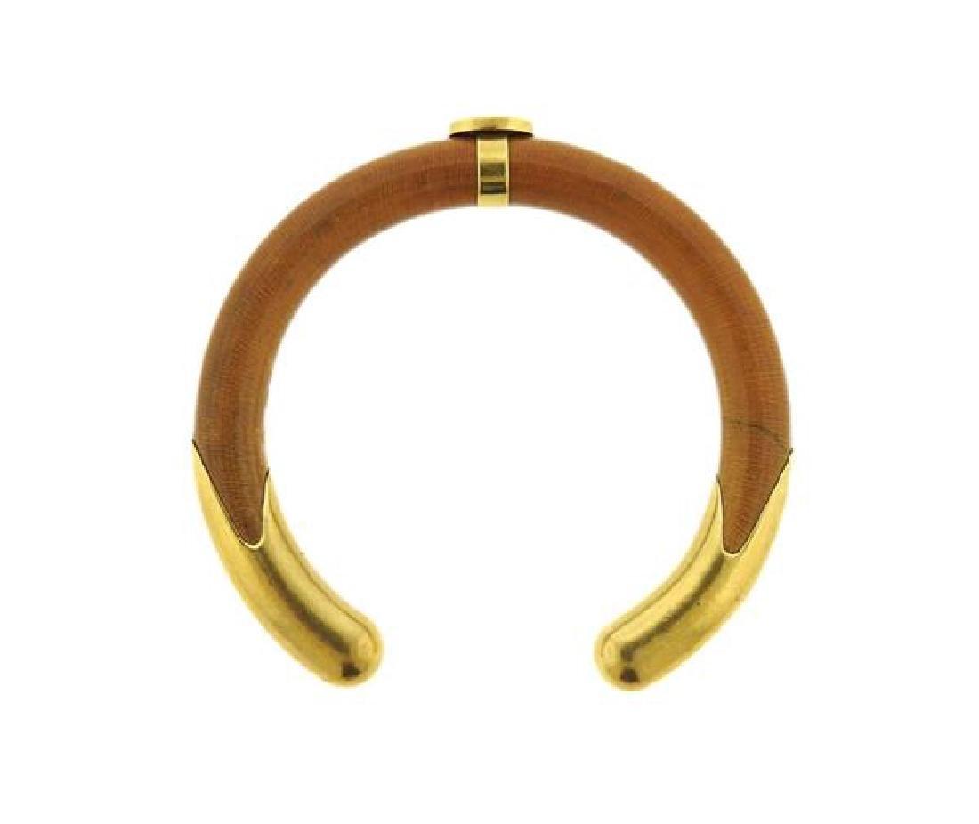 Tiffany & Co Elsa Peretti 18K Gold Wood Cuff - 4