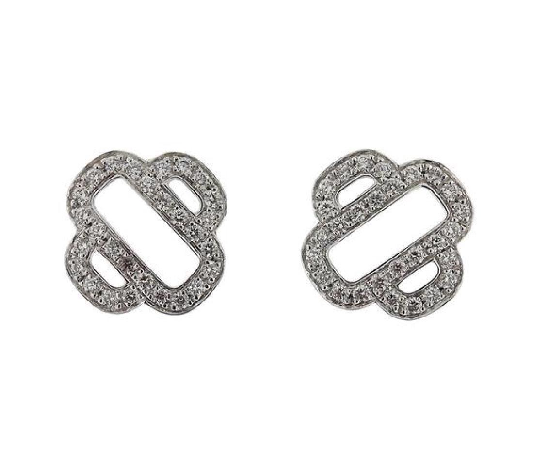 Hermes 18K Gold Diamond Stud Earrings