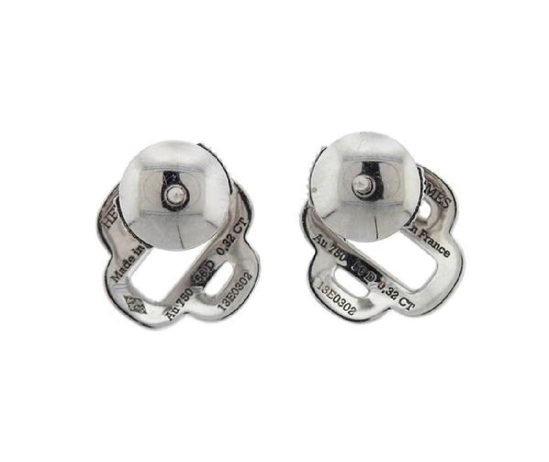 Hermes 18K Gold Diamond Stud Earrings - 2