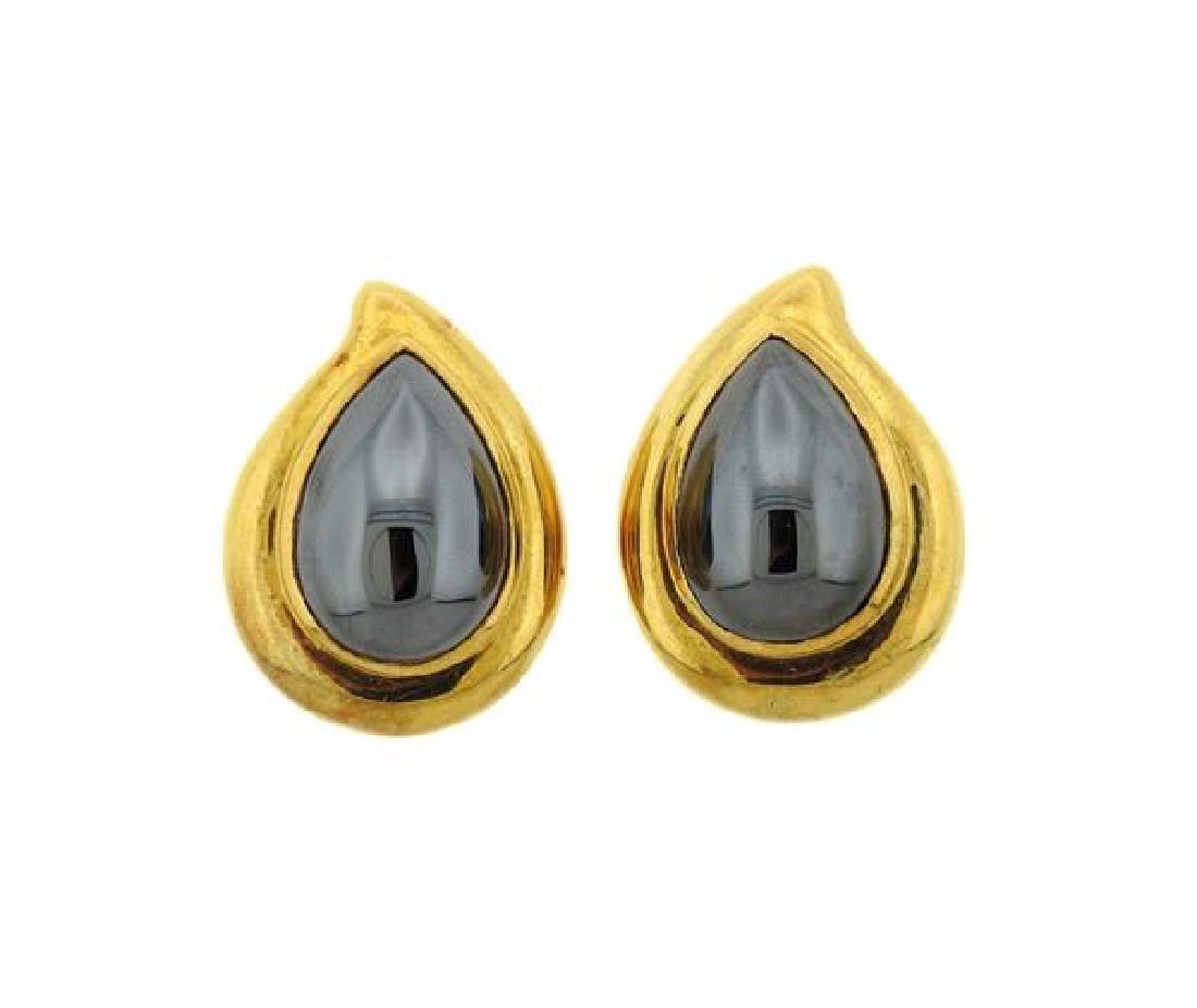 18K Gold Hematite Teardrop Earrings