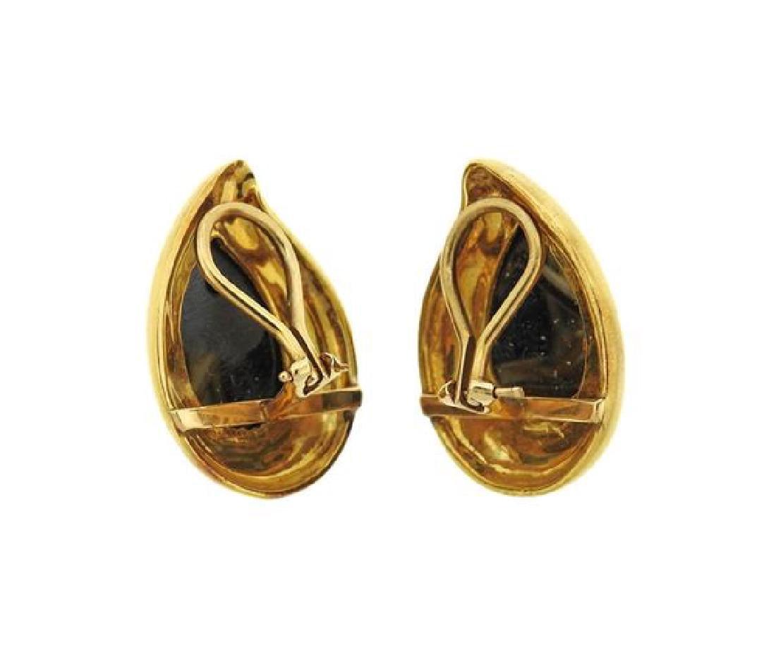 18K Gold Hematite Teardrop Earrings - 2