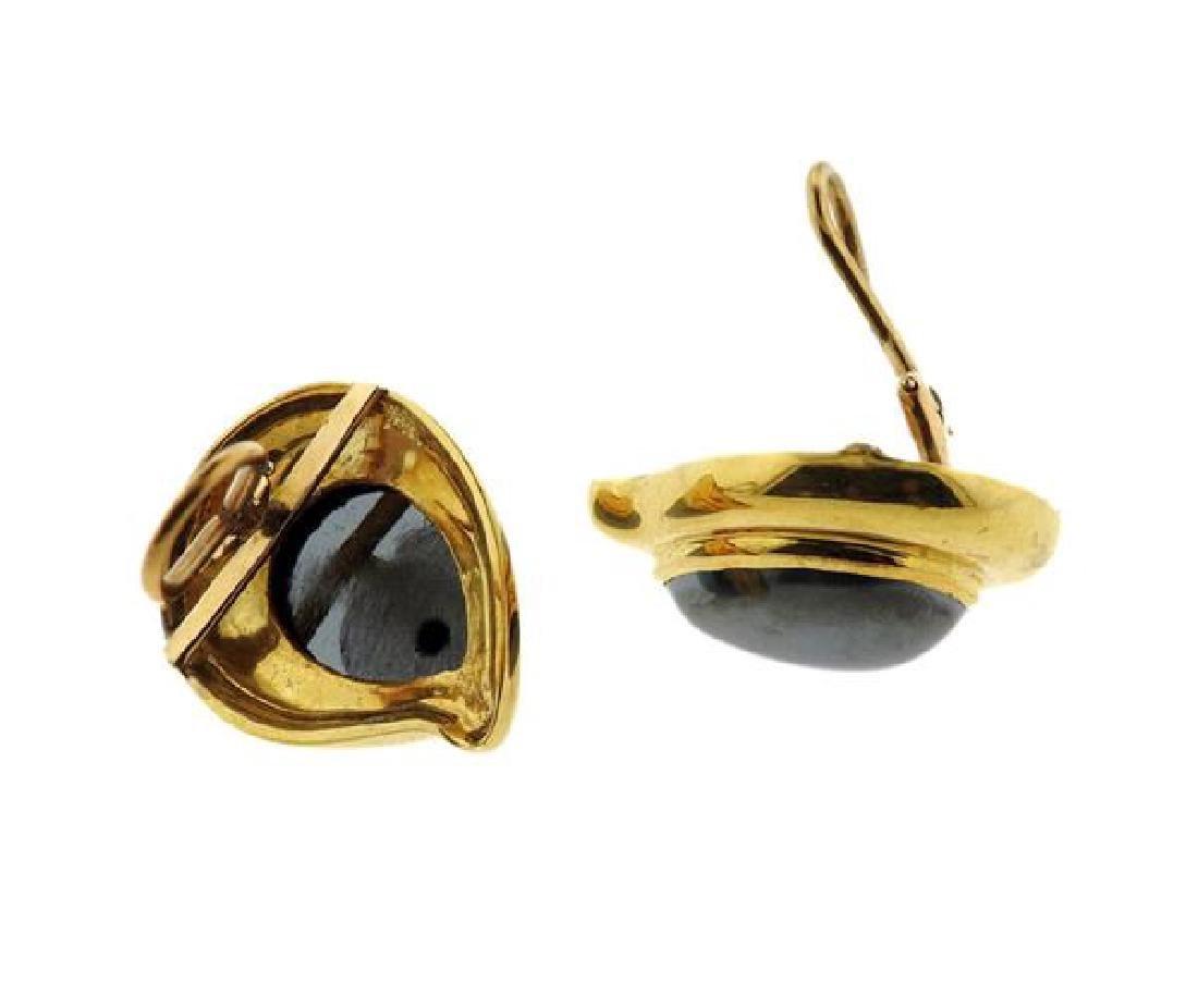 18K Gold Hematite Teardrop Earrings - 3