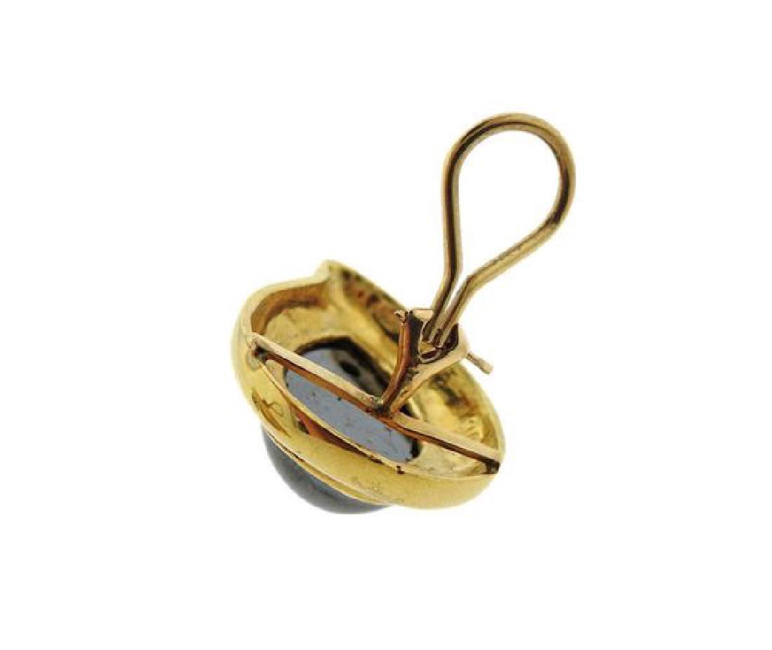 18K Gold Hematite Teardrop Earrings - 4
