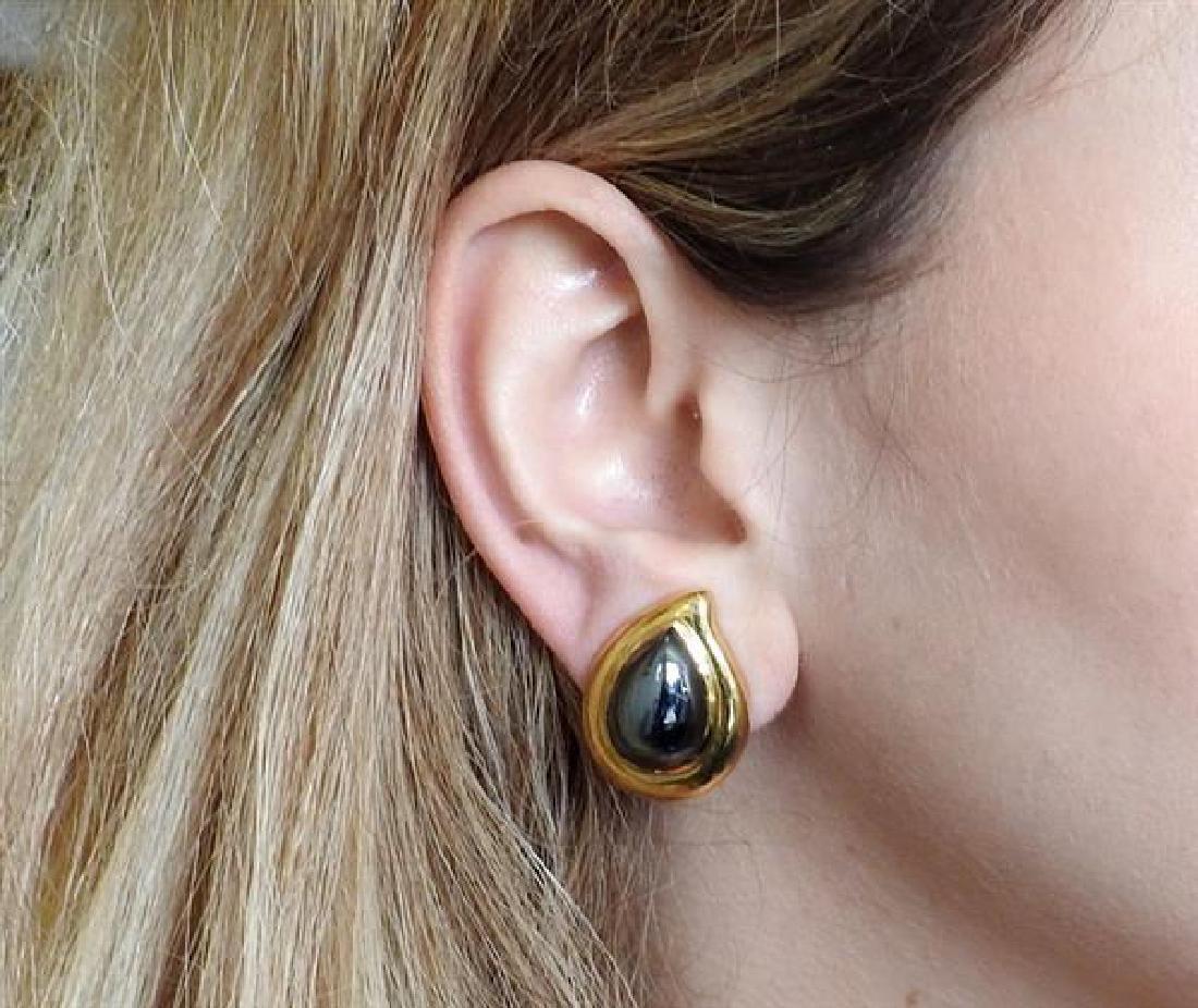 18K Gold Hematite Teardrop Earrings - 5