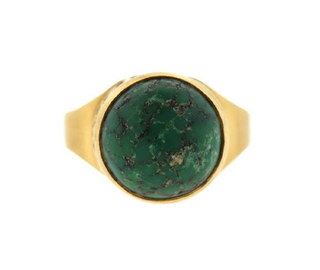 18k Gold Green Stone Ring