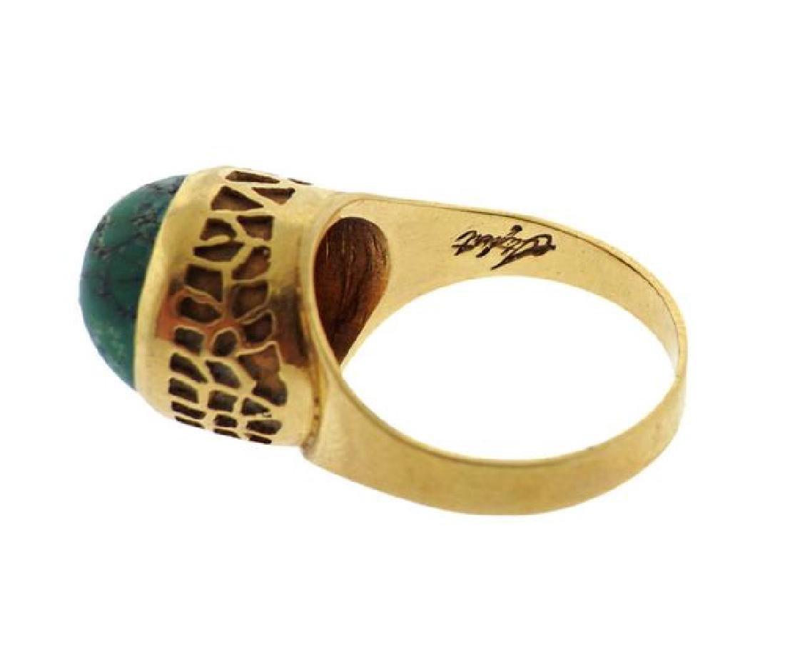18k Gold Green Stone Ring - 4