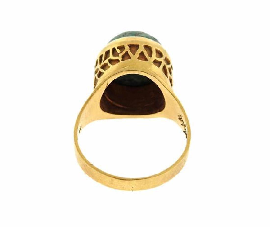 18k Gold Green Stone Ring - 5