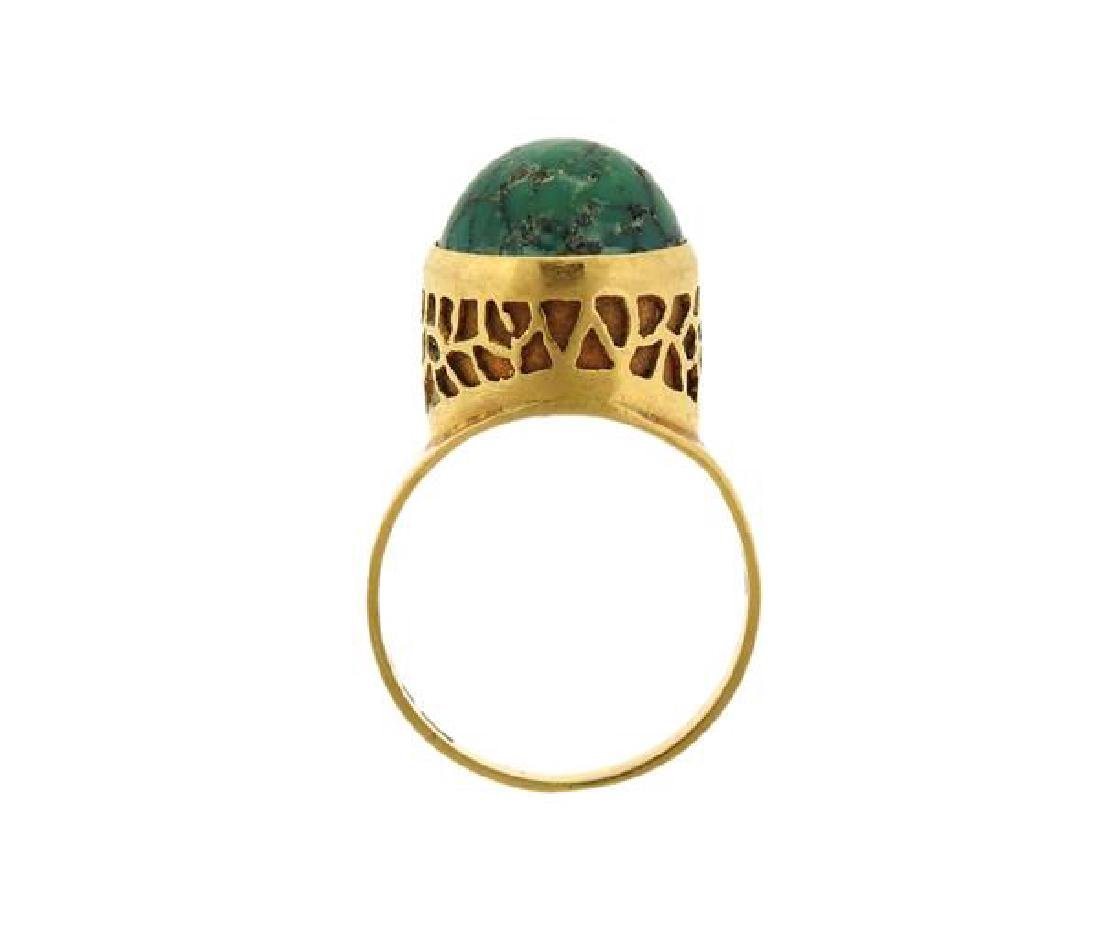 18k Gold Green Stone Ring - 6