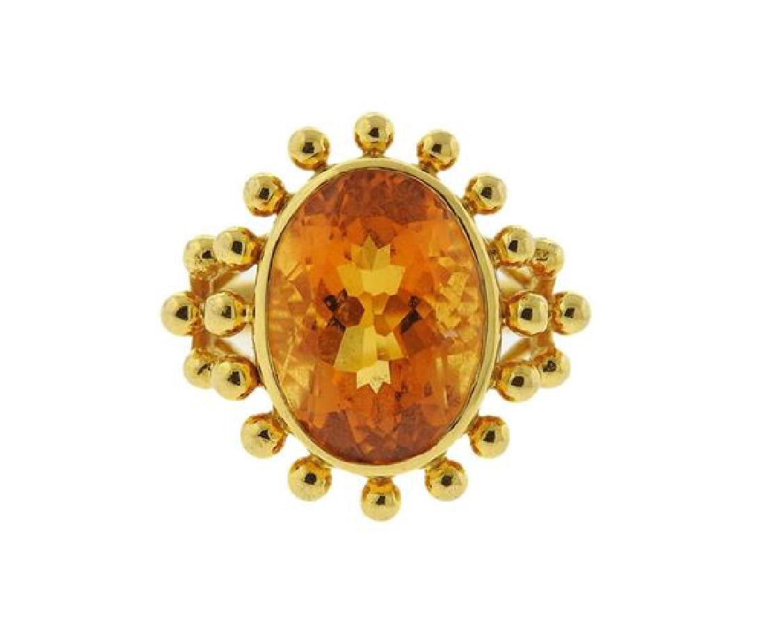 18k Gold Citrine Ring