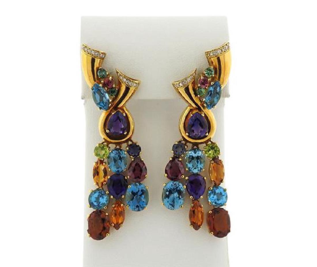 18k Gold Multi Gemstone Diamond Drop Earrings