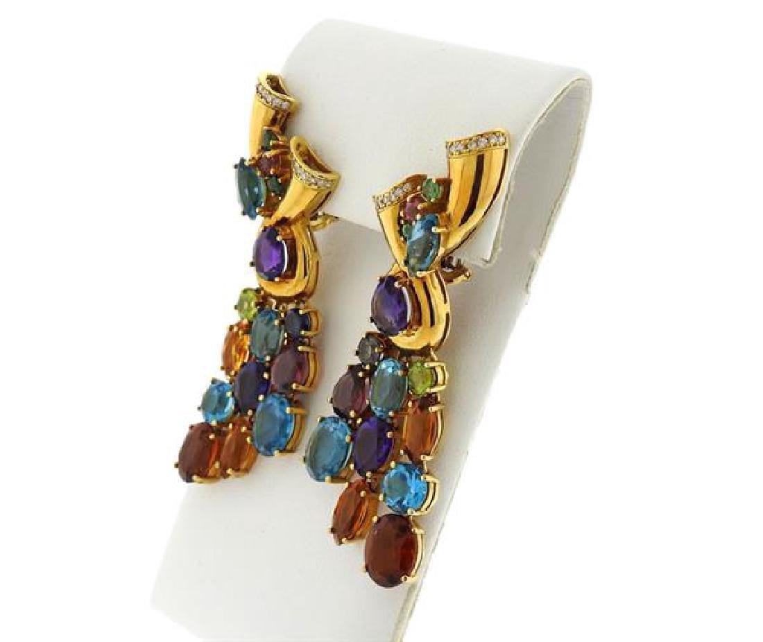 18k Gold Multi Gemstone Diamond Drop Earrings - 2