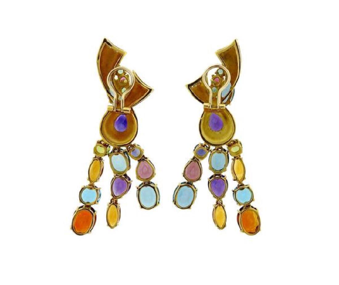 18k Gold Multi Gemstone Diamond Drop Earrings - 3