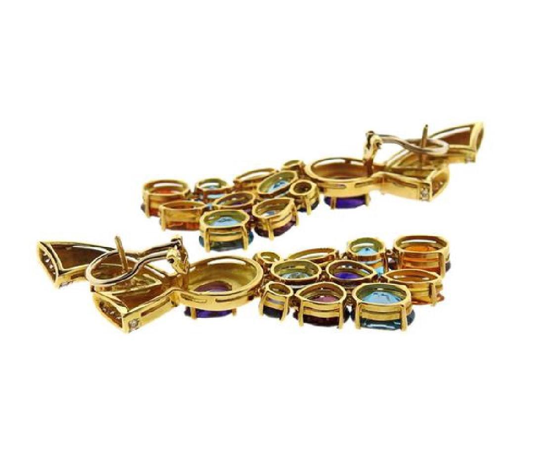 18k Gold Multi Gemstone Diamond Drop Earrings - 4