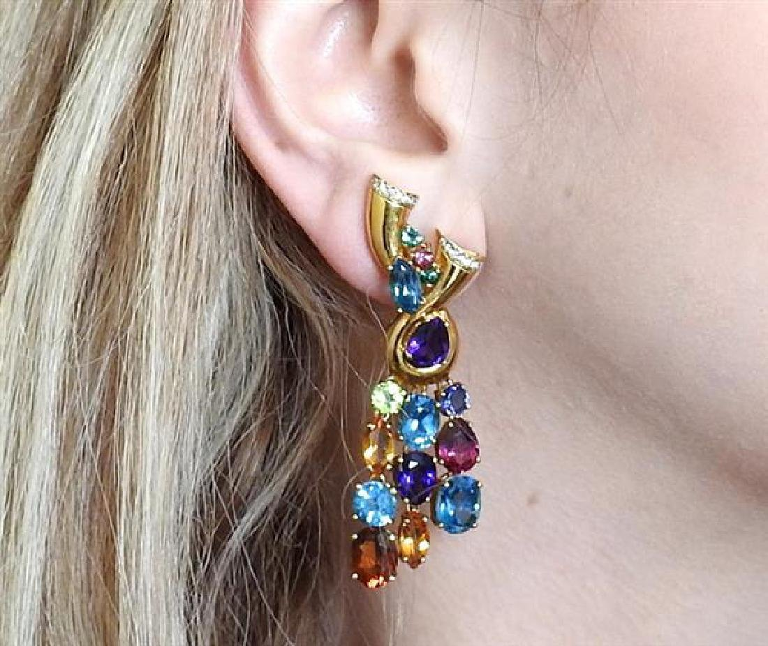 18k Gold Multi Gemstone Diamond Drop Earrings - 5