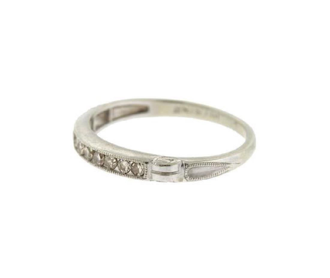 Art Deco Platinum Diamond Half Band Ring - 3