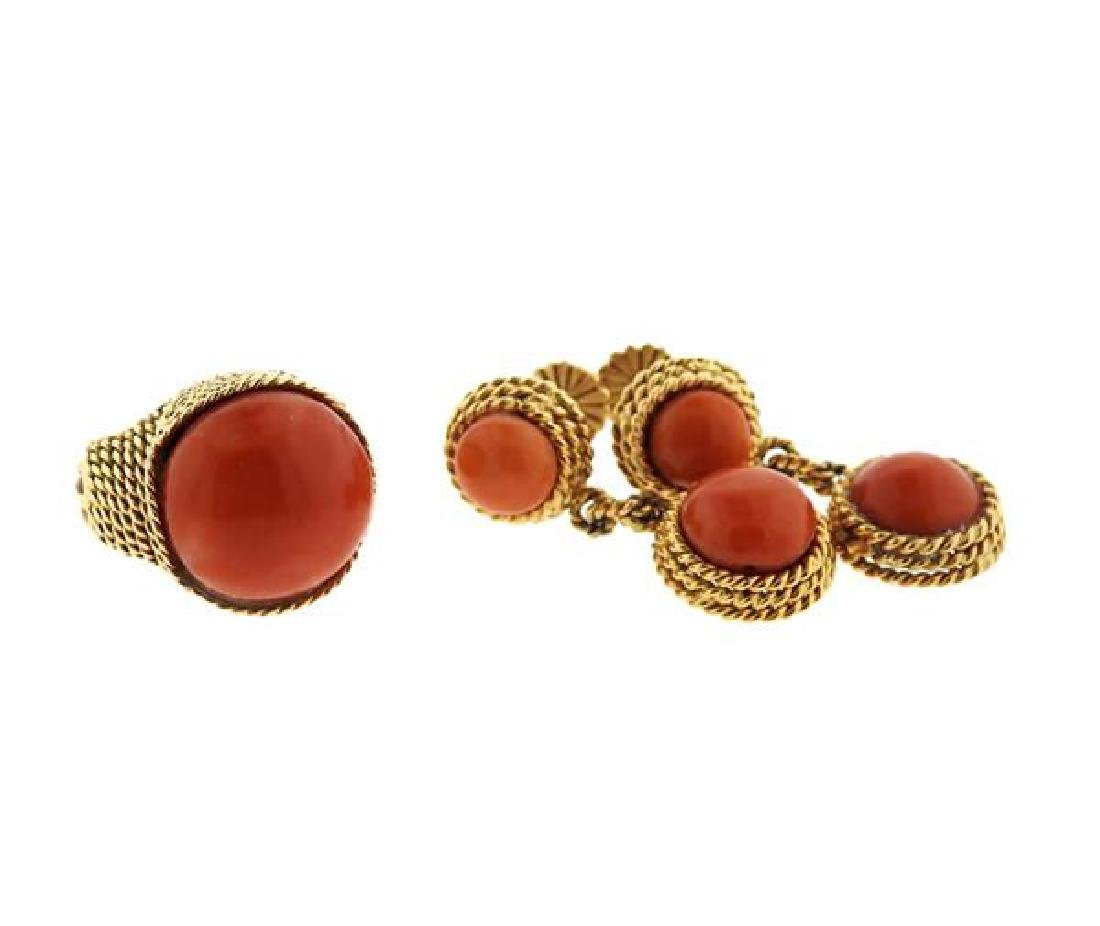 1960s 18k Gold Coral Ring Earrings Set