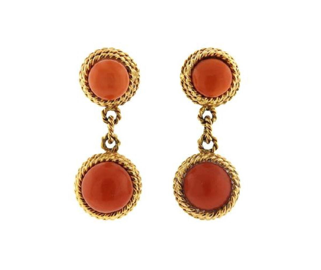 1960s 18k Gold Coral Ring Earrings Set - 5