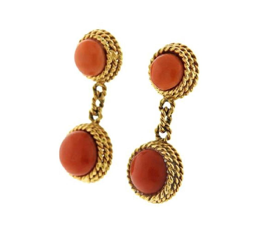 1960s 18k Gold Coral Ring Earrings Set - 6