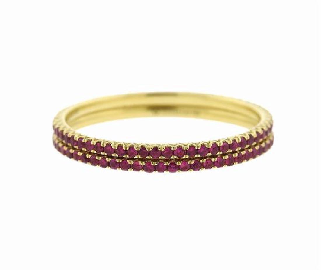 Hidalgo 18k Gold Gemstone Micro Band Stackable Ring Set