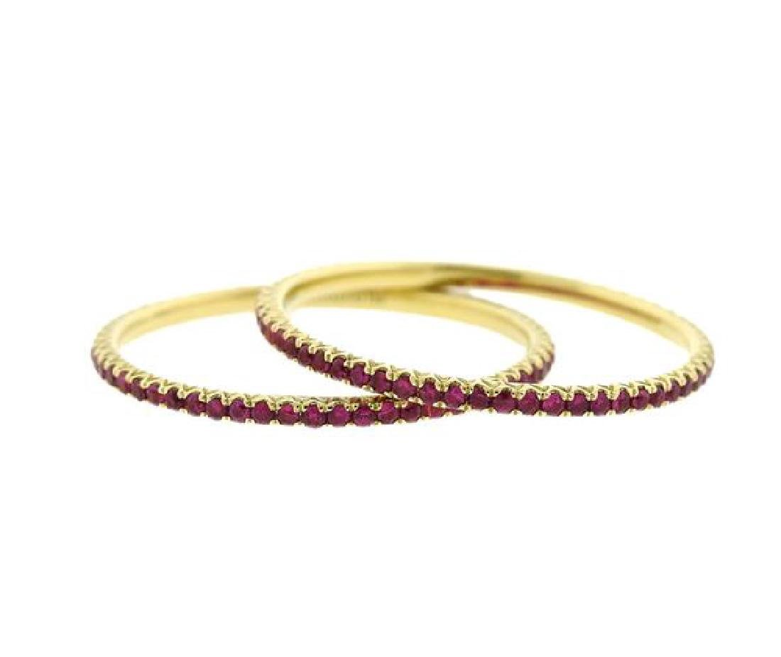 Hidalgo 18k Gold Gemstone Micro Band Stackable Ring Set - 2