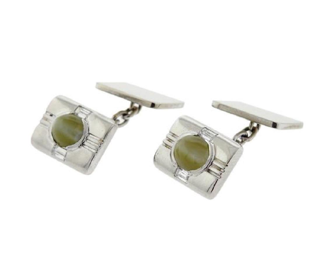 Birks Platinum 18k Gold Cat's Eye Cufflinks