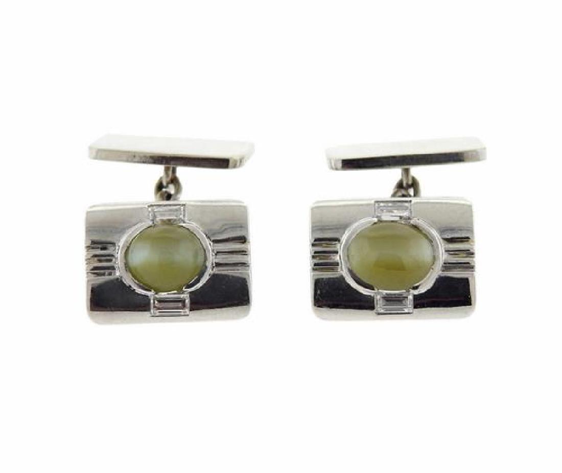 Birks Platinum 18k Gold Cat's Eye Cufflinks - 2