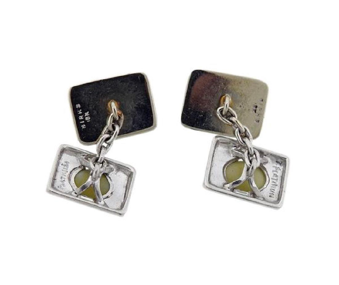 Birks Platinum 18k Gold Cat's Eye Cufflinks - 3