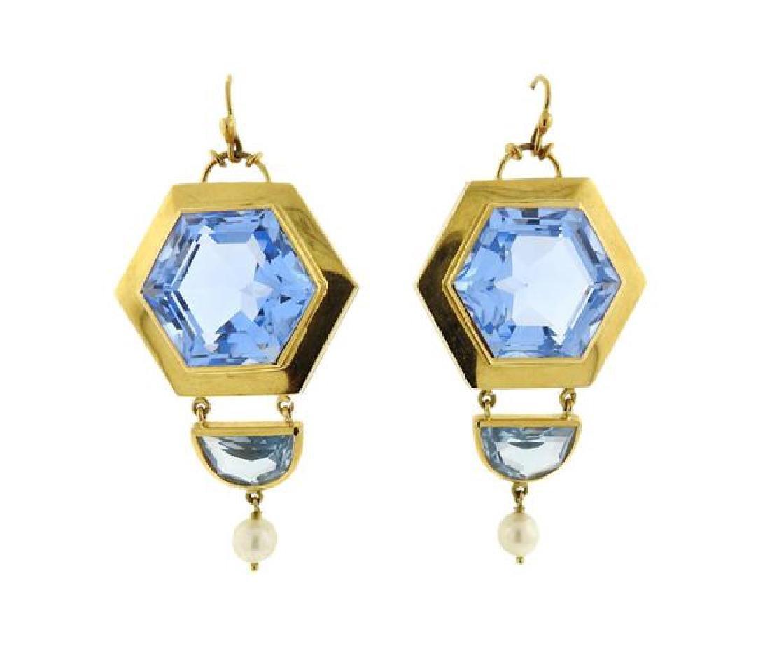 18k Gold Large Blue Stone Pearl Earrings