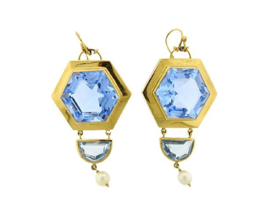 18k Gold Large Blue Stone Pearl Earrings - 2