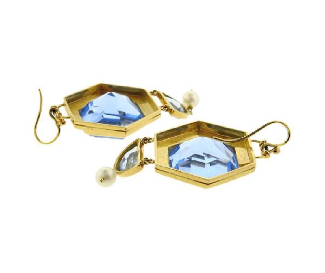 18k Gold Large Blue Stone Pearl Earrings - 3