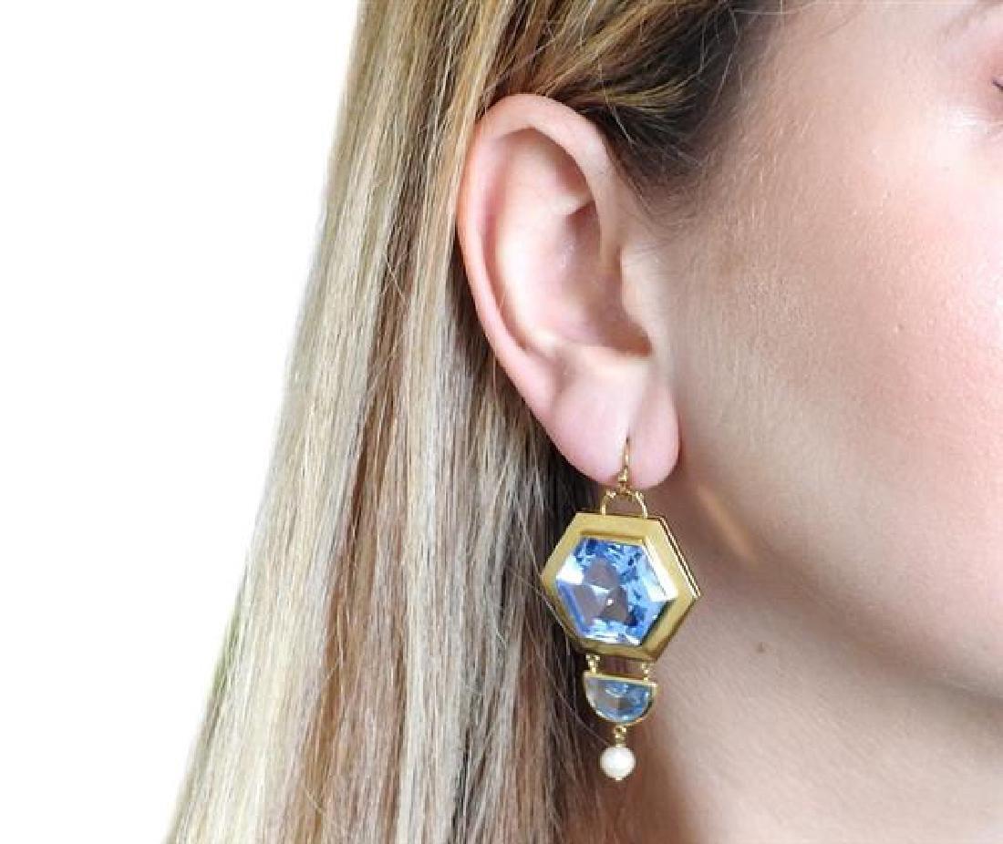 18k Gold Large Blue Stone Pearl Earrings - 4