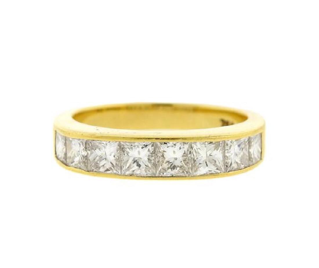 18k Gold Princess Cut Diamond Half Band Ring