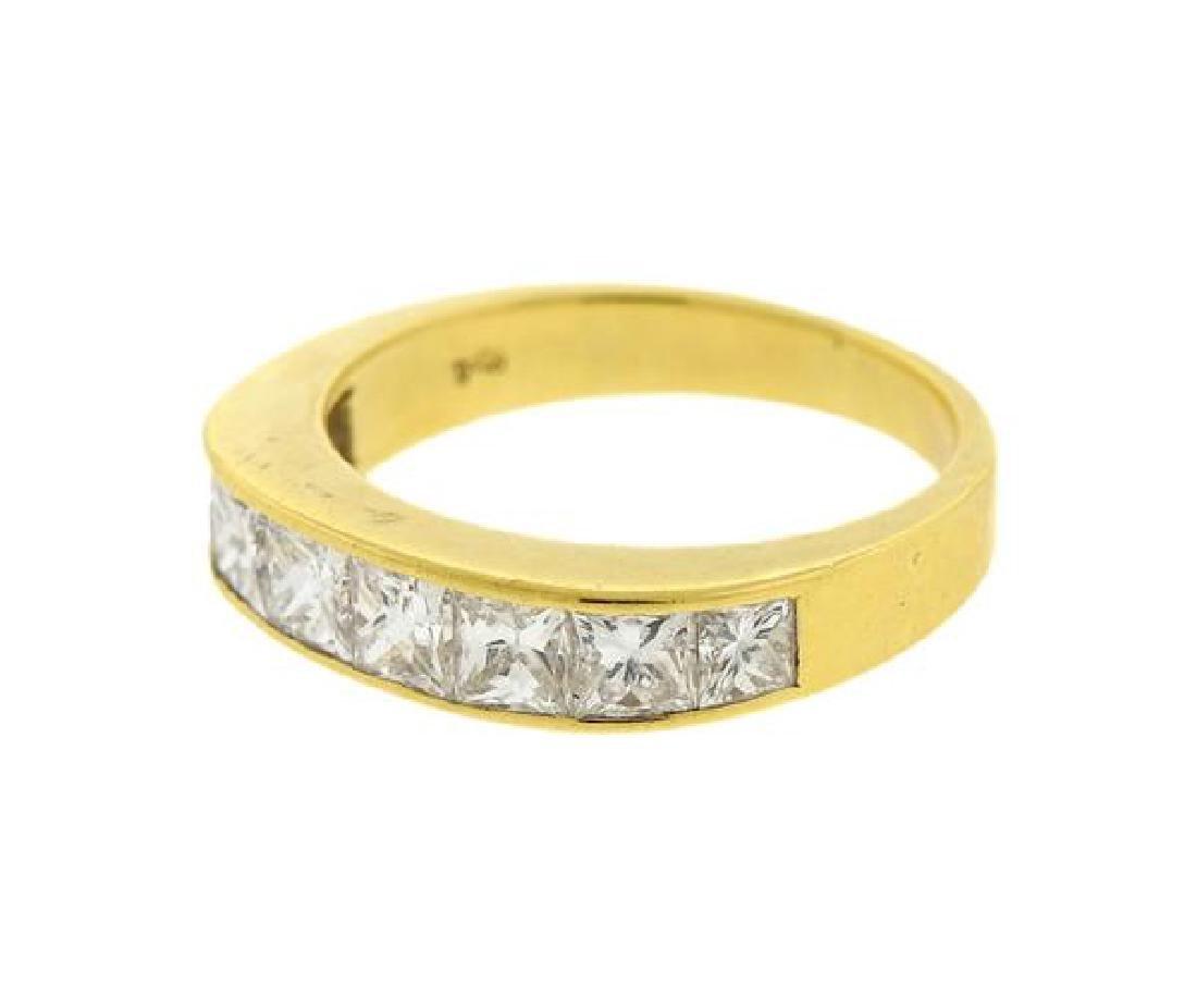 18k Gold Princess Cut Diamond Half Band Ring - 2
