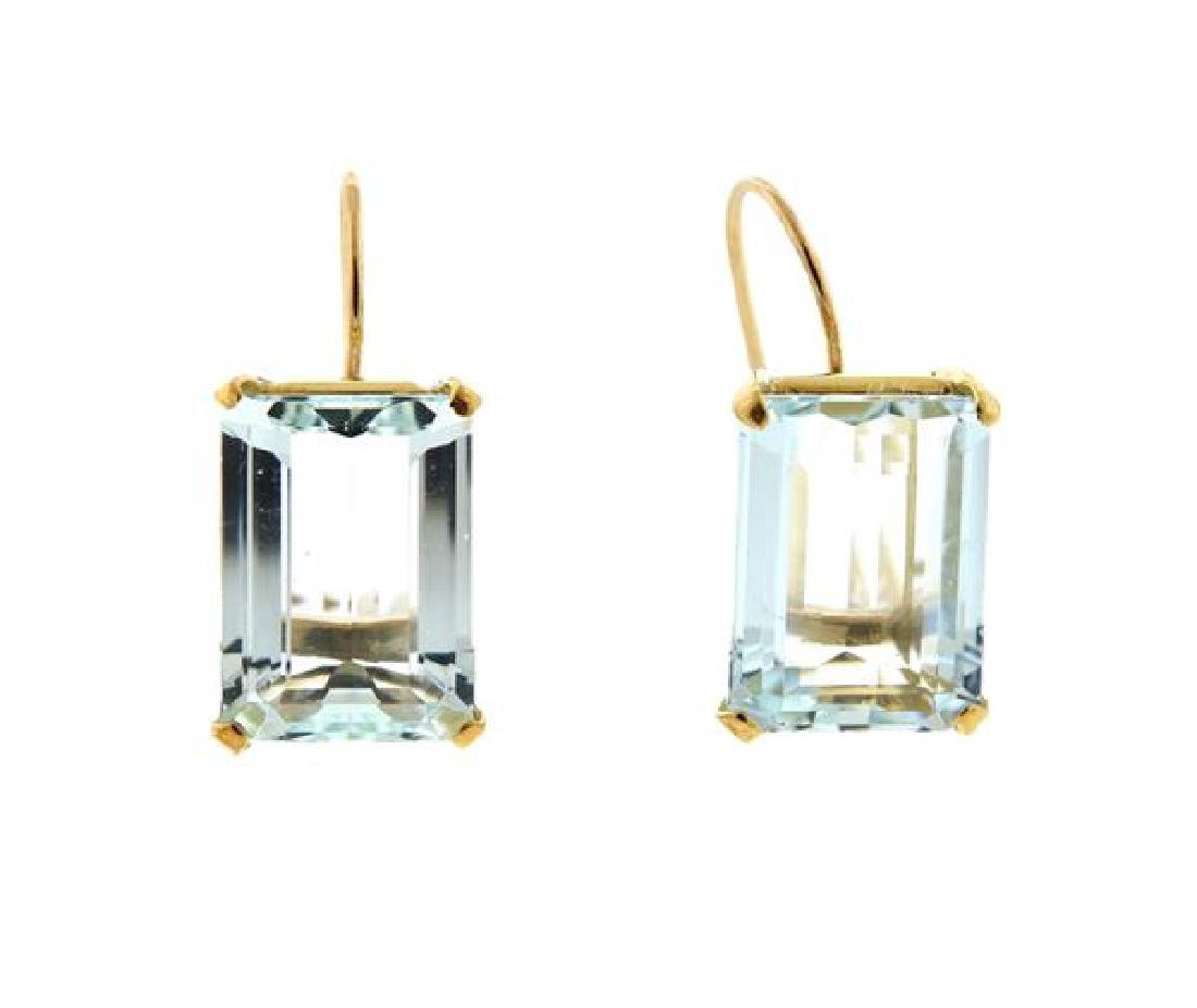 18K Gold Aquamarine Earrings