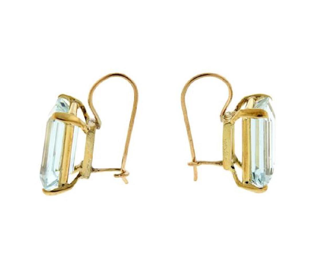 18K Gold Aquamarine Earrings - 3