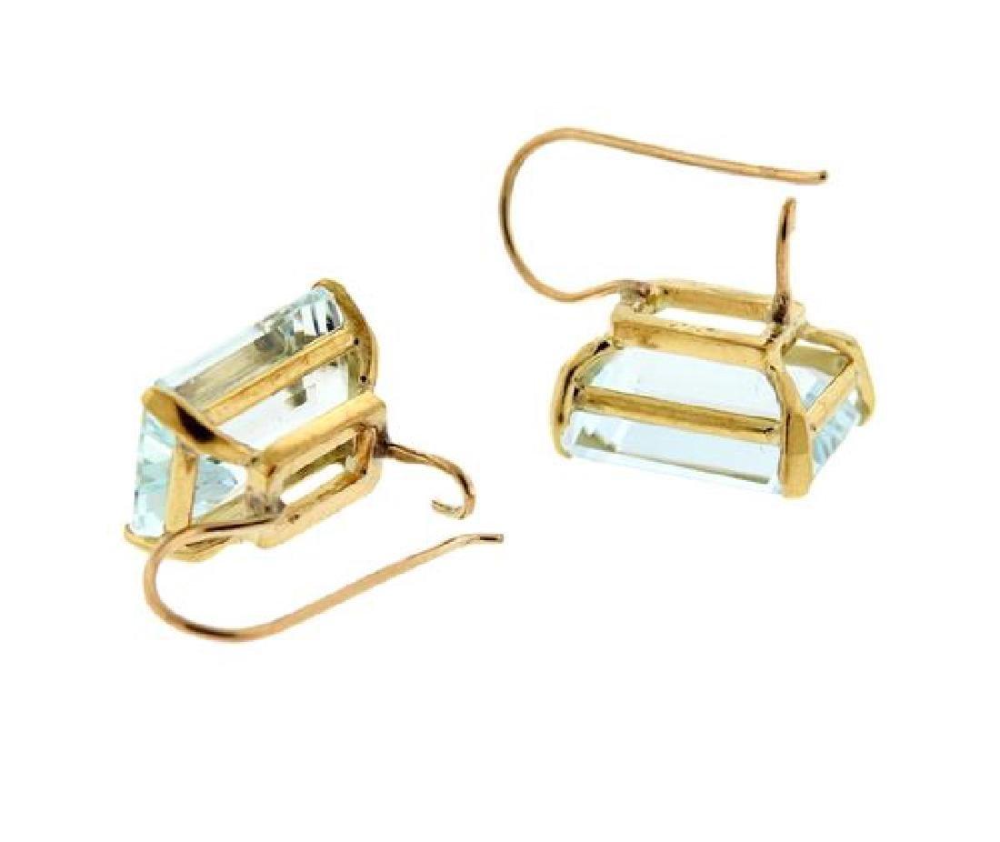 18K Gold Aquamarine Earrings - 4