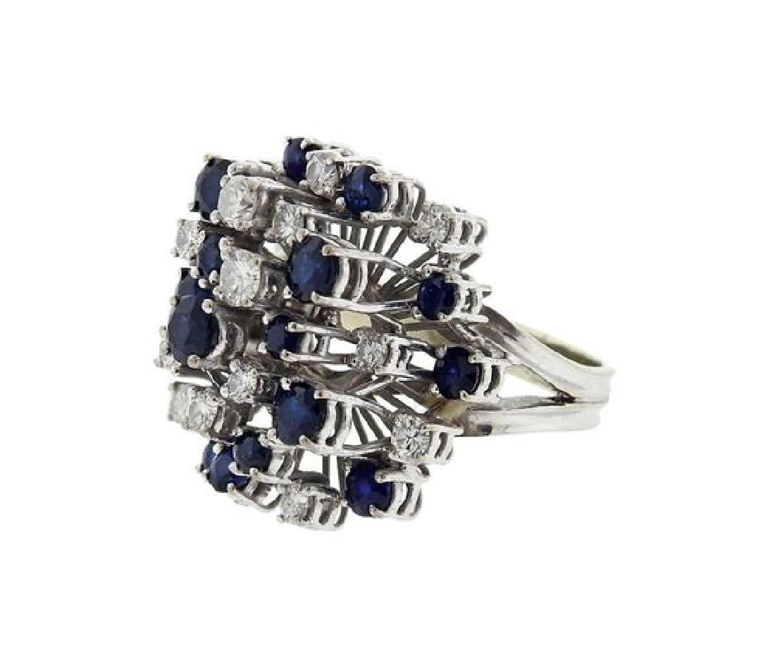 18k Gold Diamond Sapphire Cocktail Ring - 2