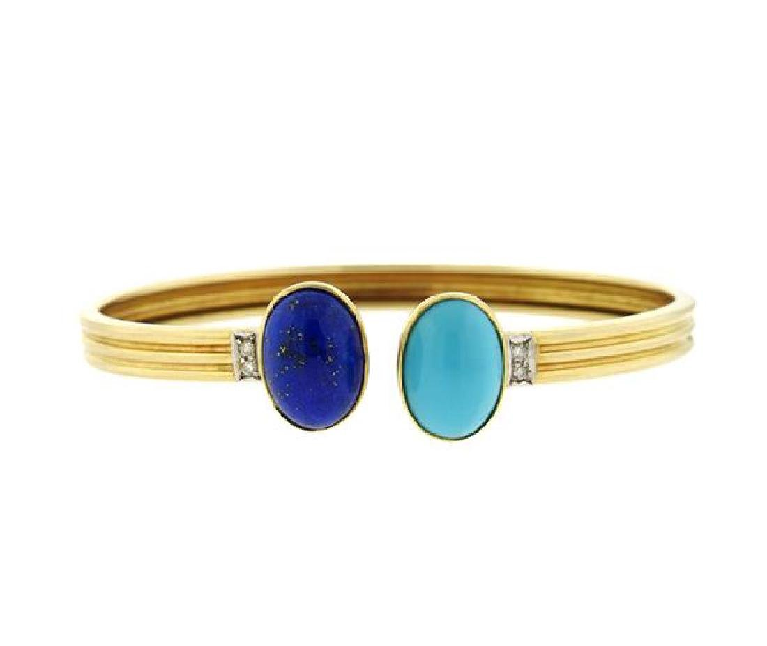 14k Gold Turquoise Lapis Diamond Bangle