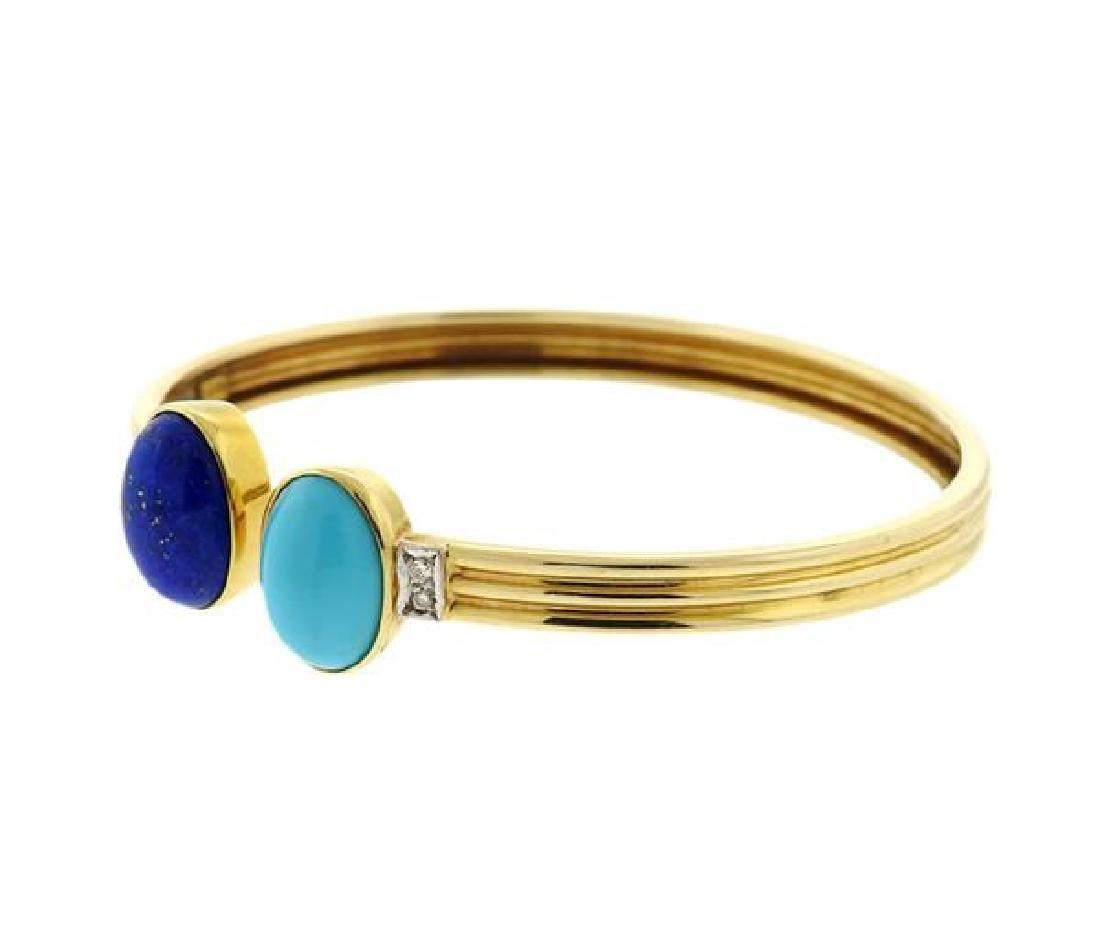 14k Gold Turquoise Lapis Diamond Bangle - 2