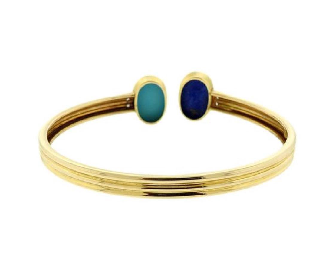 14k Gold Turquoise Lapis Diamond Bangle - 3