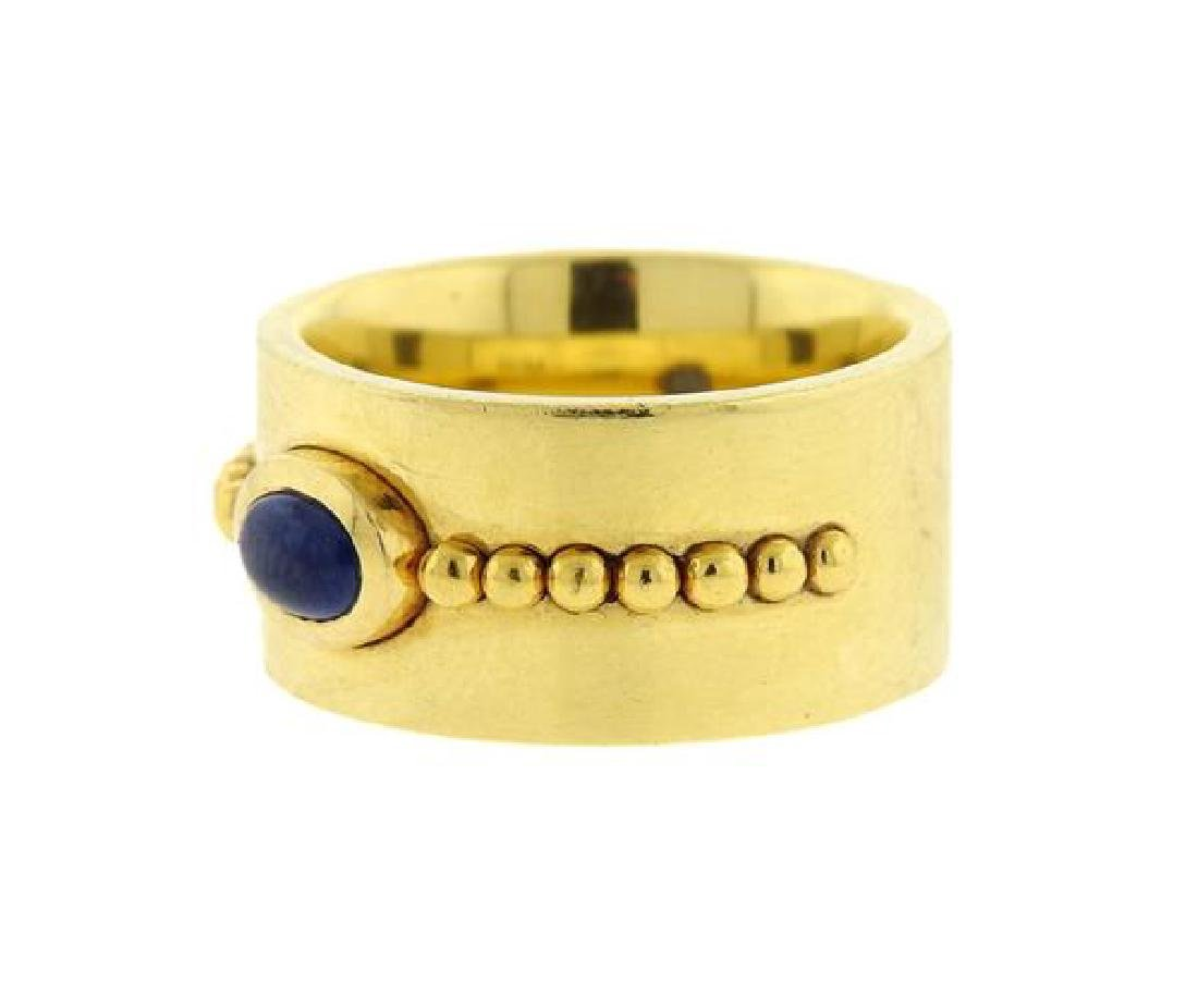 Georg Jensen 18k Gold Sapphire Wide Band Ring - 2