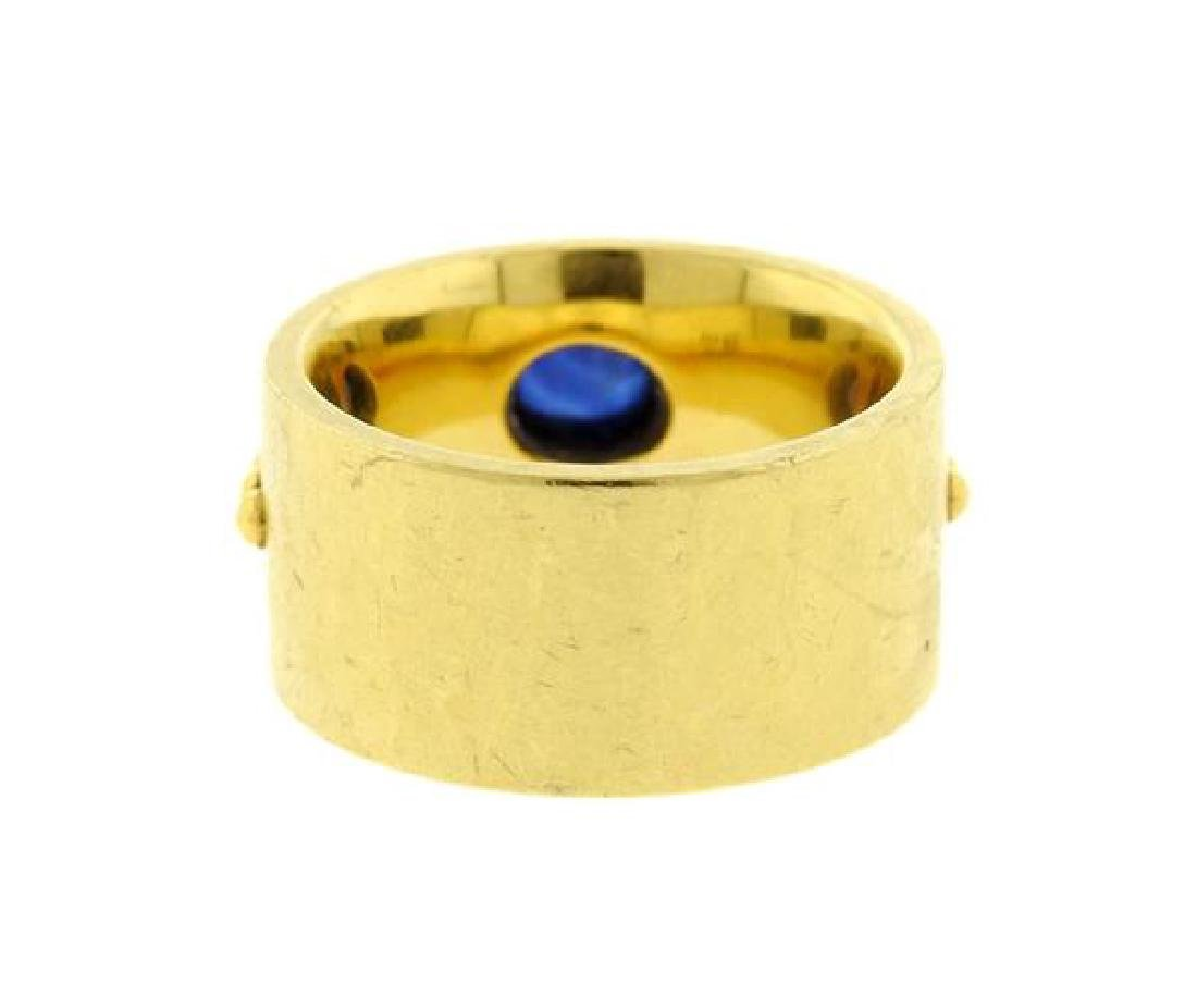 Georg Jensen 18k Gold Sapphire Wide Band Ring - 3