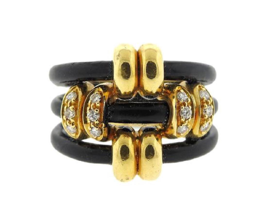 Adler 18k Gold Diamond Enamel Ring