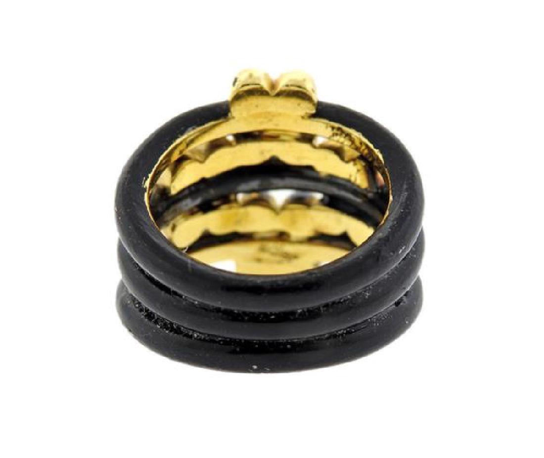 Adler 18k Gold Diamond Enamel Ring - 3