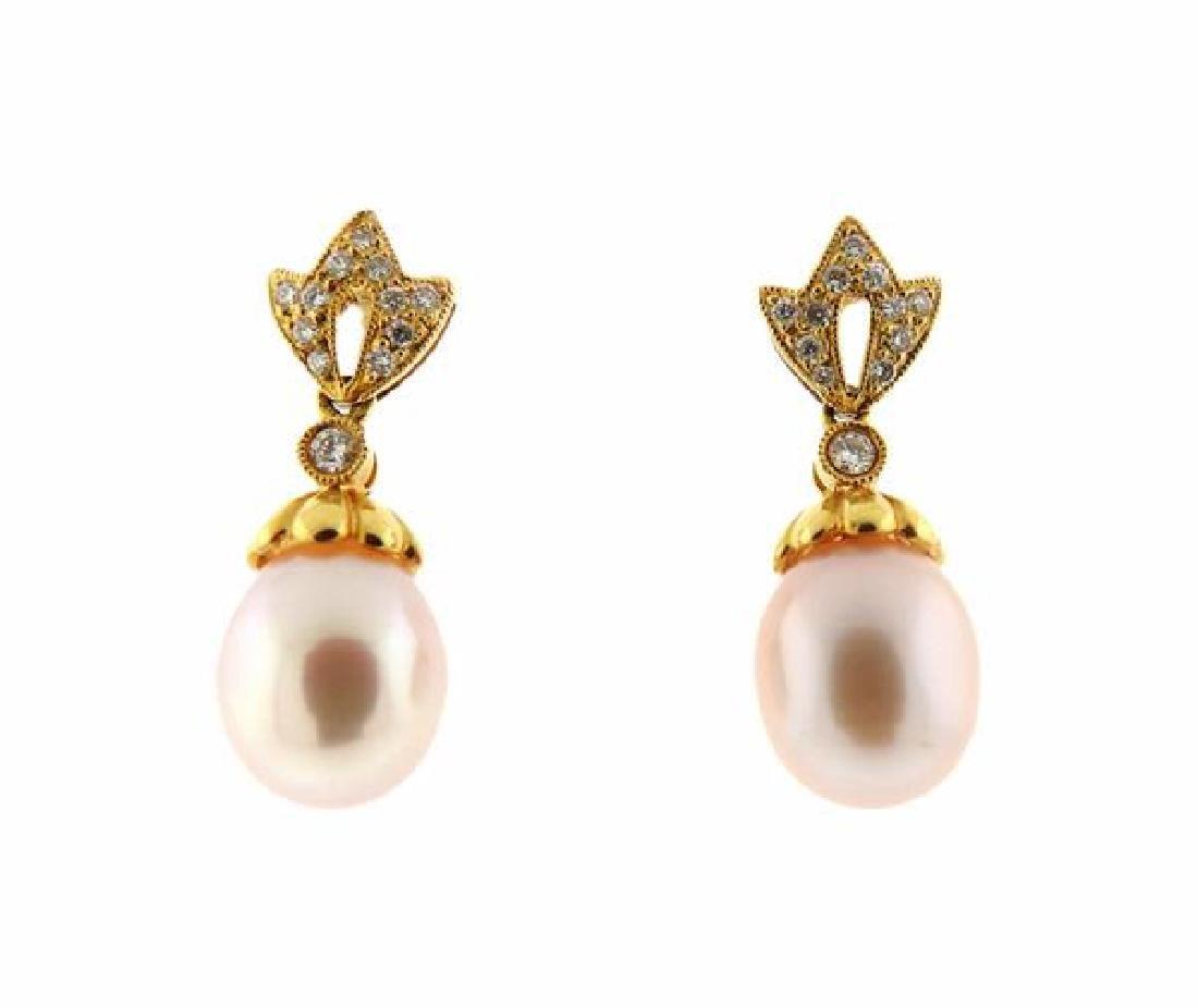 14k Gold Diamond Pearl Dangle Earrings