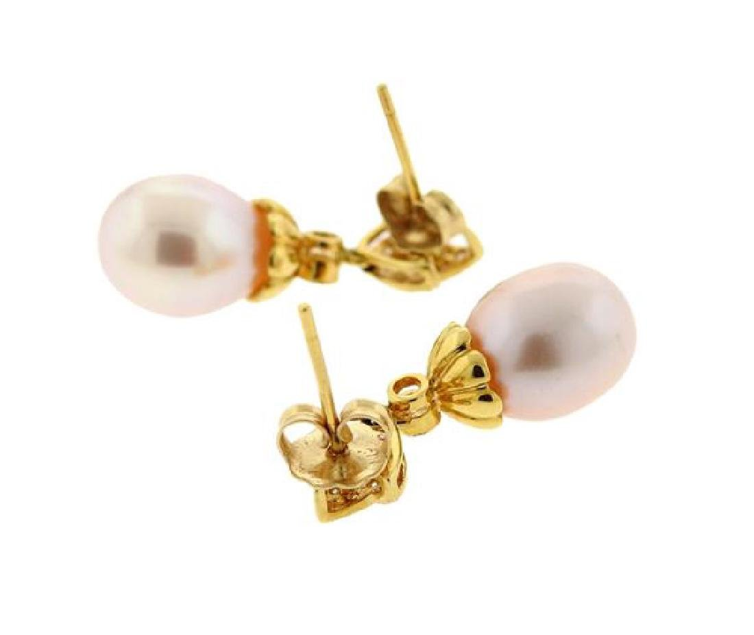 14k Gold Diamond Pearl Dangle Earrings - 2