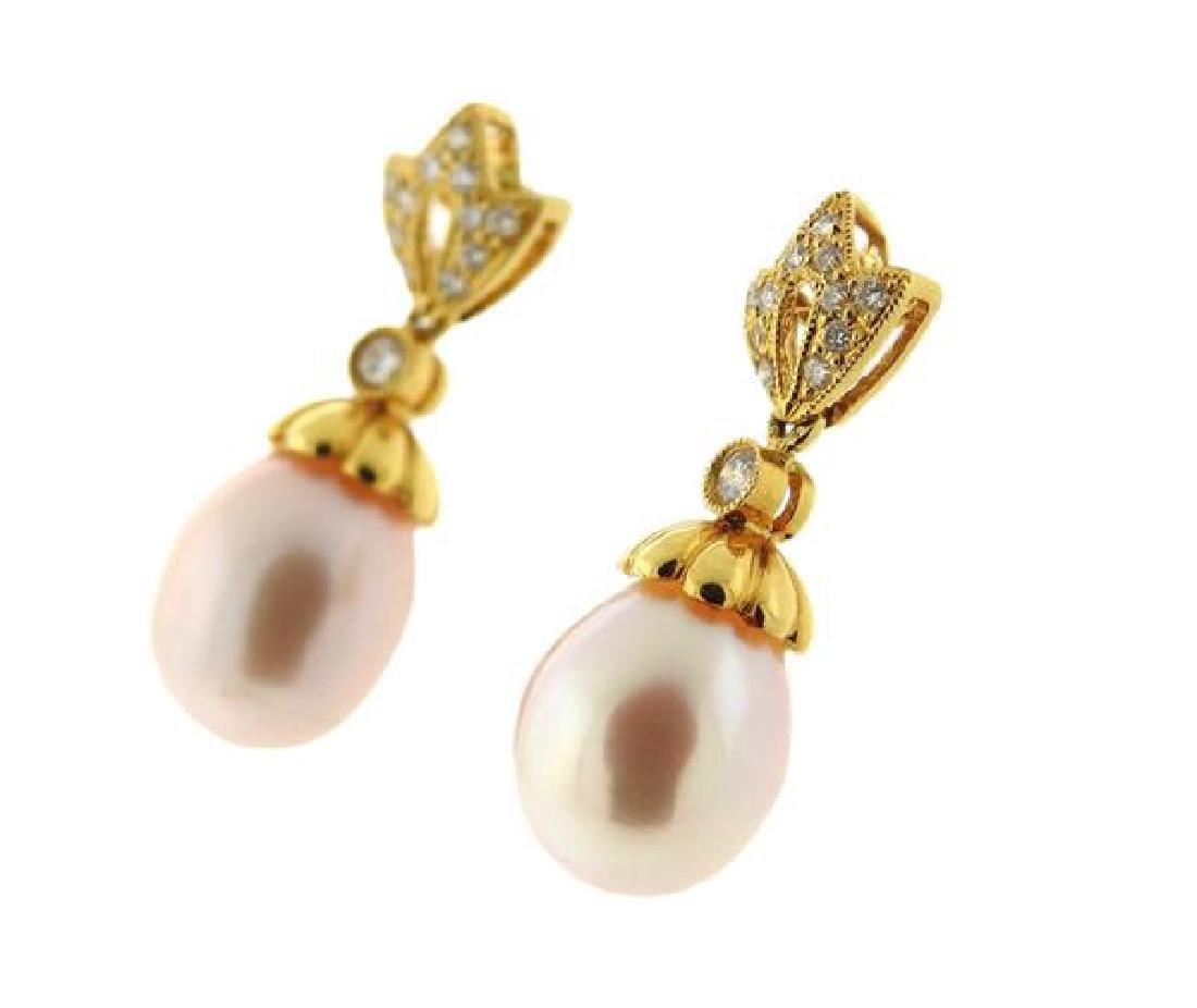 14k Gold Diamond Pearl Dangle Earrings - 3
