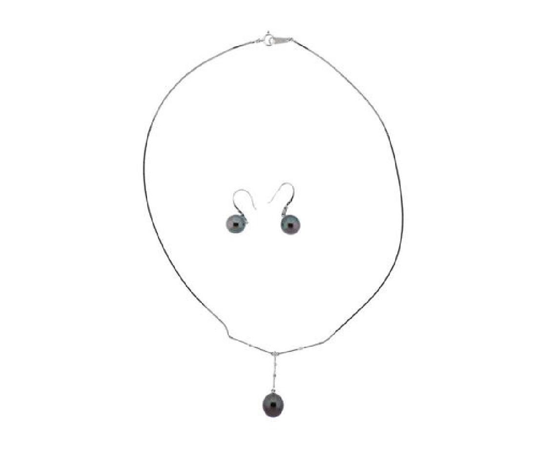 18k Gold Diamond Tahitian Pearl Earrings Necklace Set