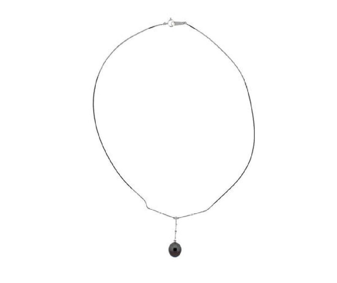 18k Gold Diamond Tahitian Pearl Earrings Necklace Set - 2